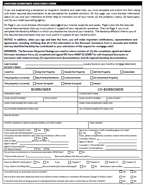 Ocwen RMA Loan Modification Package Forms